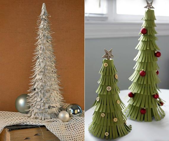 dekorativer tannenbaum basteln aus zeitungspapier und farbigem papier