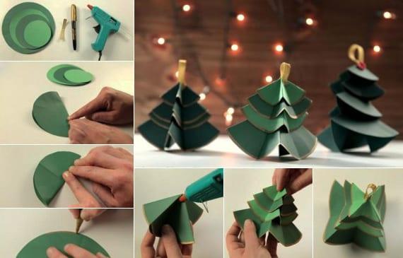 coole bastelidee für diy weihnachtsschmuck-tannenbaum aus grinem papier für weihnachtsbaumdeko