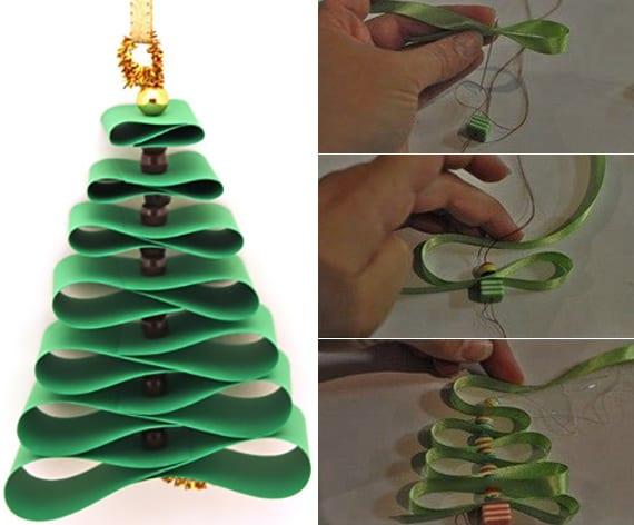 tannenbaum falten und nähen aus farbband und perlen
