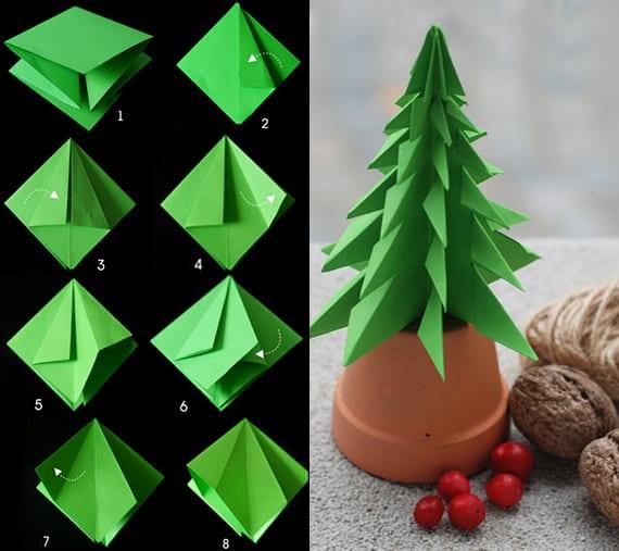 coole idee für weihnachtsdeko mit diy tannenbaum aus papier_anleitung für tannenbaum falten