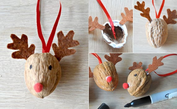 kreative bastelideen für selbstgemachte Weihnachtsdeko und Wintermotive_Hirsch basteln aus walnüssen