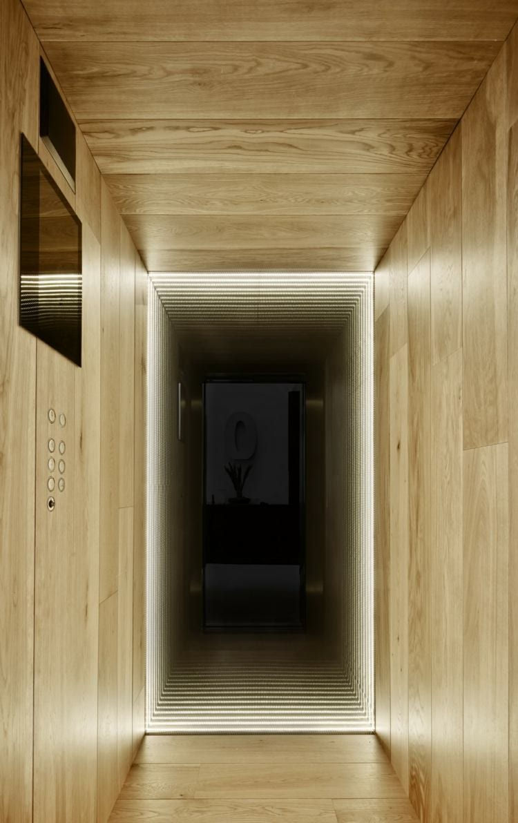 moderne aufzug gestaltung mit holzverkleidung und dunklem spiegel mit LED-beleuchtung