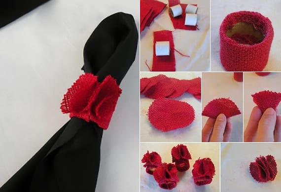 schwarze servietten falten zu weihnachten mit selbstgemachten Serviettenringen in rot