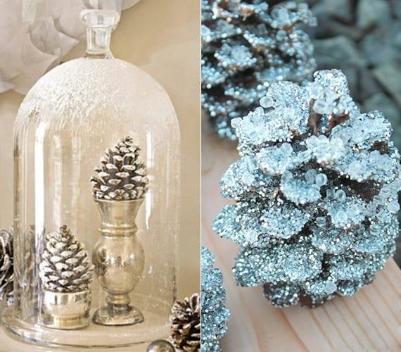 fantastische Winter Dekoideen mit Schnee-zapfen in silbernen kerzenhaltern unter Glasglocke