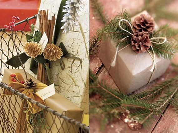 kreative geschenkverpackungen mit zapfen zu weihnachten