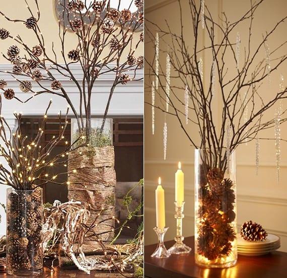 tolle diy ideen für diy weihnachtsbaum aus zapfen, zweigen und lichterkette als weihnachtliche Tischdeko