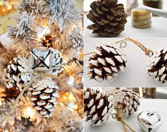 einfache Bastelideen für DIY Weihnachtsbaumschmuck mit schnee-zapfen