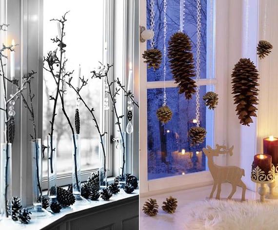 kreative Fensterdeko zu Weihnachten basteln mit nadelbäume zapfen, kerzen und zweigen