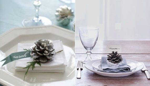 coole diy ideen fuer winterdeko mit nadelbaeume zapfen tisch festlich eindecken mit diy zapfen. Black Bedroom Furniture Sets. Home Design Ideas
