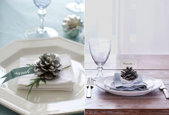 dekoideen für festliche Tischdekoration mit diy Platzkarten aus Nadelbäume Zapfen