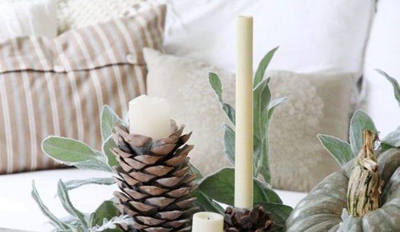 coole diy ideen fuer winterdeko mit nadelbaeume zapfen weihnachtliche tischdeko mit diy zapfen. Black Bedroom Furniture Sets. Home Design Ideas