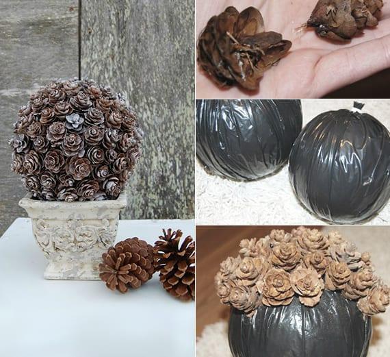 coole Gartendeko Idee mit diy Kugel-Formschnitt aus Zapfen