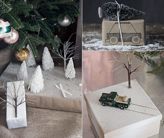 geschenke verpacken weihnachten mit tannenbaum-figuren und kunstschnee