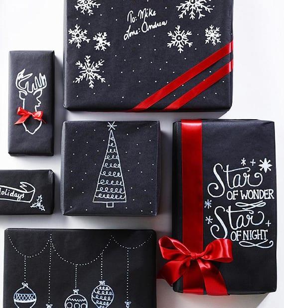 geschenkpapier basteln für weihnachtsgeschenke_coole verpackungsideen für weihnachtsgeschenke mit schwarzem papier