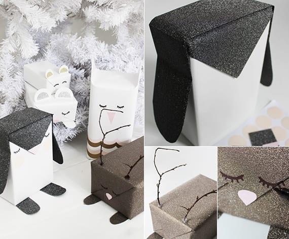 weihnachtsgeschenke für kinder verpacken als tiere