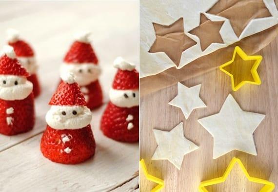 diy essbare weihnachtsmänner aus erdbeeren und sahne und sterne-plätzchen zu weihnachten machen