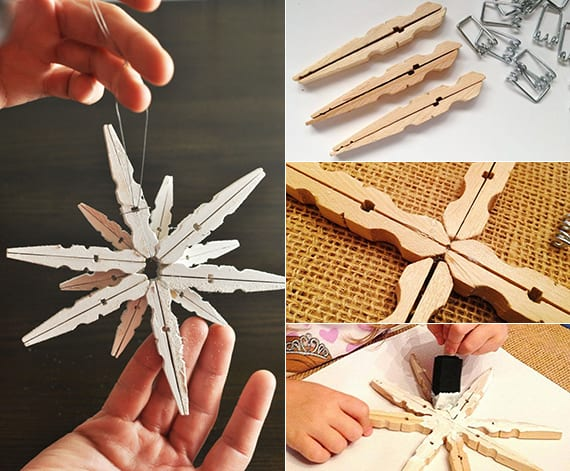 kreative weihnachtssterne aus Wäscheklammern mit kindern basteln