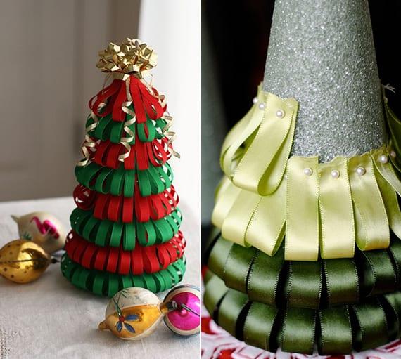 weihnachtliche dekoideen mit diy tannenbaum aus farbbändern und kegelform