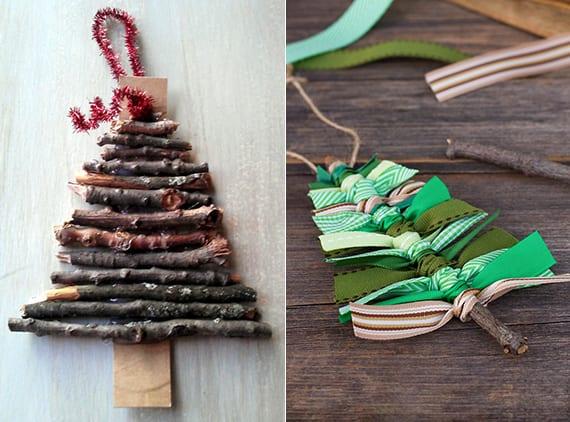 diy weihnachtsbaum aus dünnen zweigen basteln als Geschenk- und Weihnachtsschmuck
