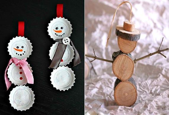 coole bastelideen für diy schneemann-figuren als weihnachtsbaumschmuck