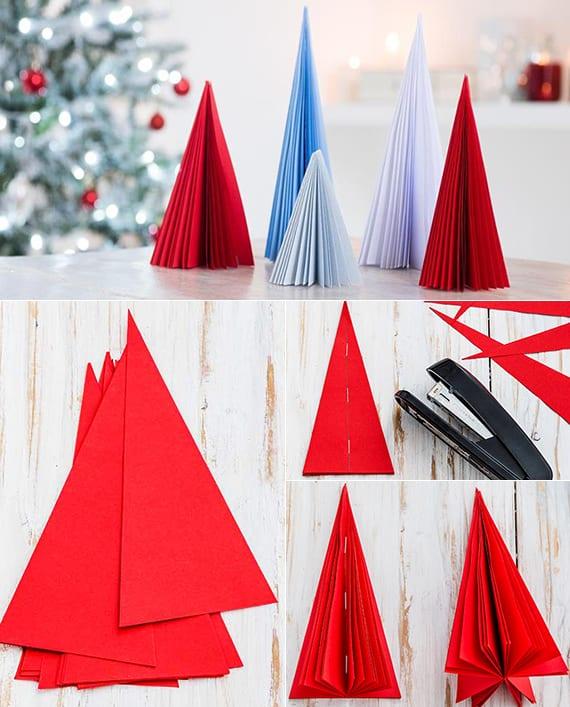 kreative dekoideen zu weihnachten mit DIY Tannenbaum aus Karton-Dreiecken
