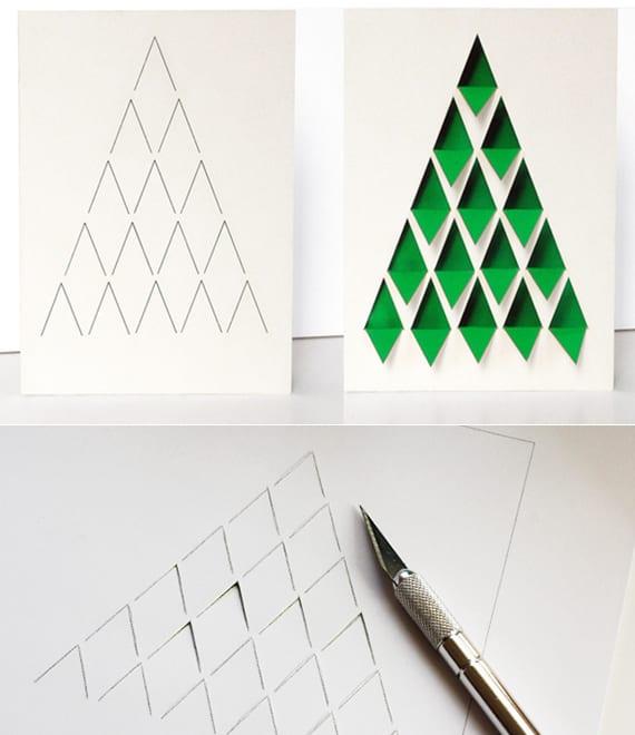diy weihnachtskarte mit tannenbaum schnell basteln