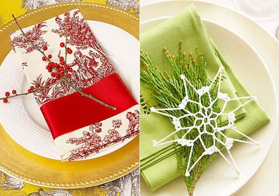 servietten falten weihnachten mit roter seideschleife und beerenzweig_grüne stoffserviette einfach falten und dekorieren mit DIY stern und Tannengrün