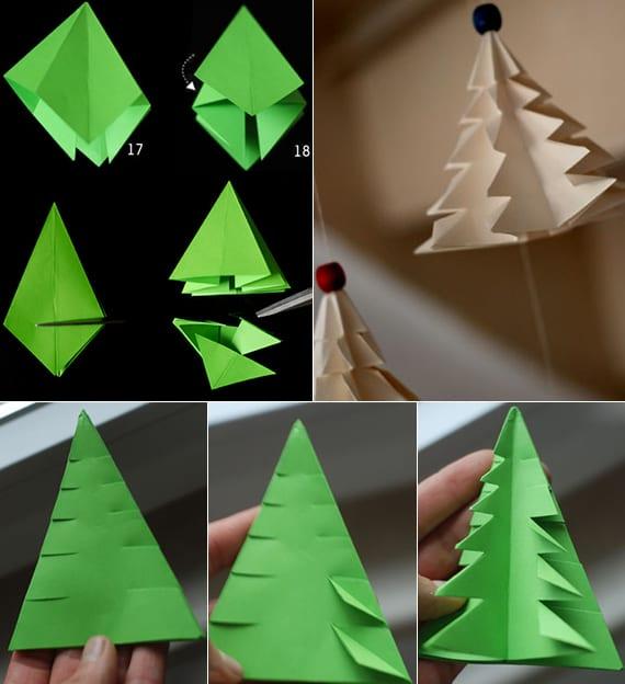 papier tanenbaum schnell falten als kreative DIY Weihnachtsdeko