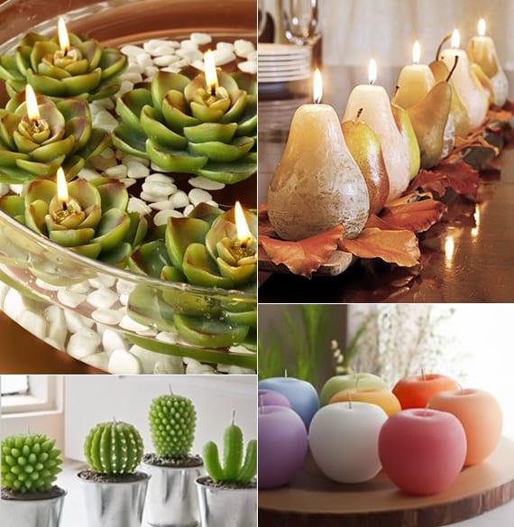 originelle kerzen machen durch diy silikongießformen_tischdeko ideen mit diy kerzen in form von birnen, äpfeln, kakteen und fettpflanzen