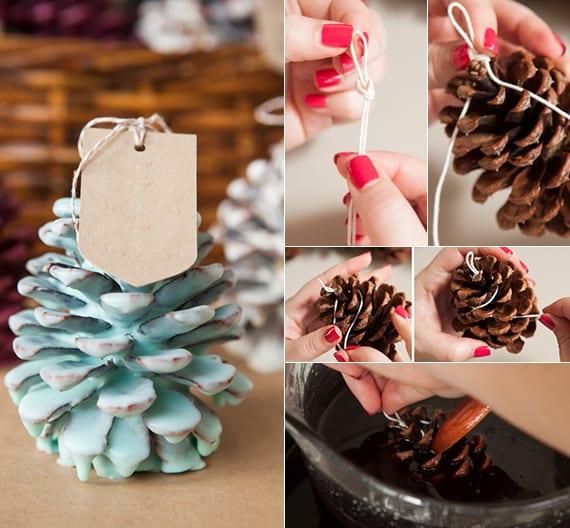 kreative geschenkidee zu weihnachten mit diy Feueranzünder aus zapfen