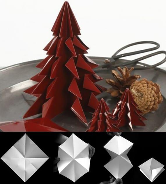 tannenbaum aus glanzkarton falten schritt für schritt