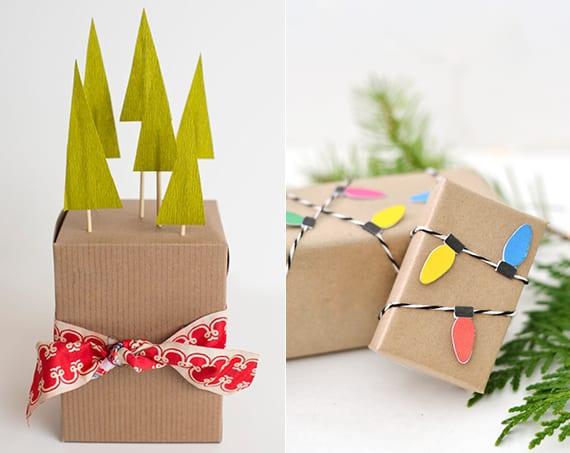 weihnachtsgeschenke einpacken in packpapier und dekorieren mit bunten wintermotiven