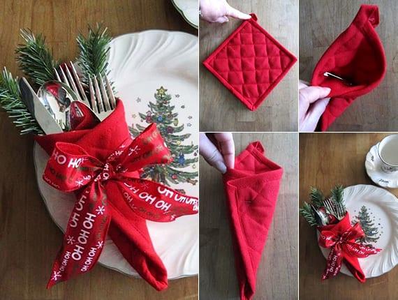 coole idee für Platzteller deko mit bestecktasche aus topflappen