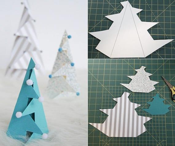 coole tannenbäume aus geschenkpapier falten und mit mini-bommeln dekorieren