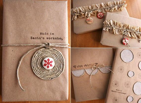 geschenke originell verpacken mit packpapier und geschekpapier basteln zu weihnachten