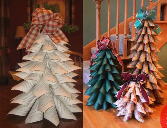 tolle dekoideen und einfache bastelideen mit Papier-Tannenabäumen