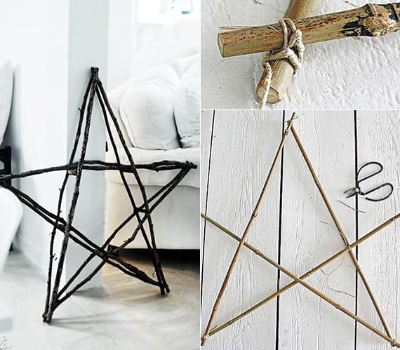 doppel stern aus zweigen basteln als kreative rustikale dekoration
