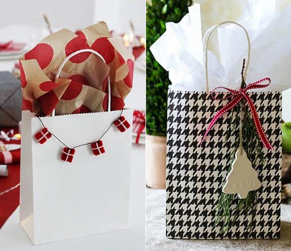 geschenverpackungsideen für weihnachtsgeschenke in geschenktüten