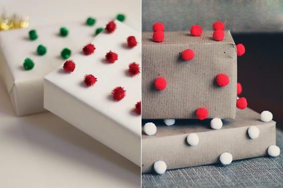 geschenke einpacken und mit kleinen bommeln dekorieren