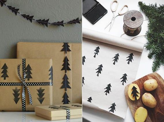weihnachtsgeschenke verpacken kreativ mit selbstgemustertem Geschenkpapier_geschenkverpackung basteln mit DIY Motivstempel aus Kartofeln
