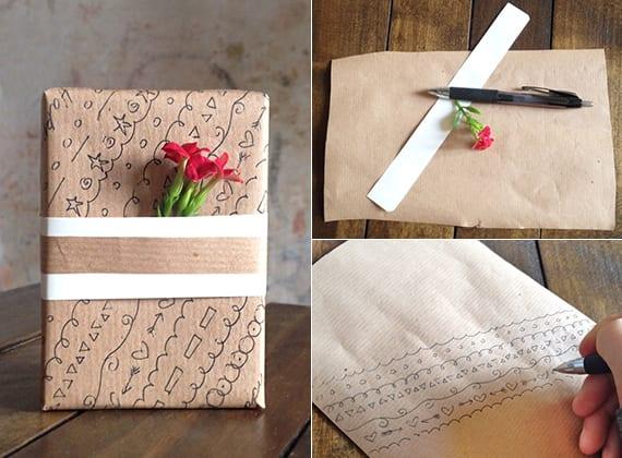 coole geschenkperpackung basteln mit selbst gemustertem pckpapier und frischen Blüten
