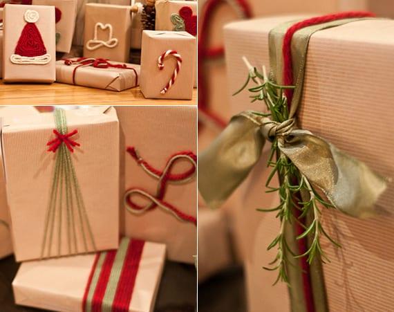 weihnachtsgeschenke einfach und kreativ verpacken mit packpapier und DIY Wintermotiven aus garn