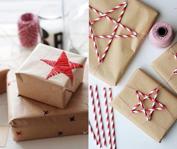 geschenke verpacken weihnachten mit braunpapier und DIY Stern aus Strohhalmen_Geschenkpapier basteln mit faden-sternen