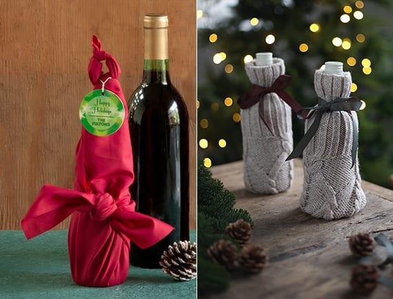 flaschen als geschenk kreativ verpacken in textilien