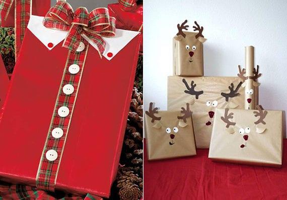 weihnachtsmann- und rudolph- geschenkverpackung basteln