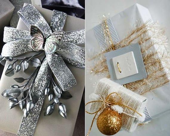 geschenke weihnachtlich verpacken mit goldener Weihnachtsgirlande und Weihnachtskugel oder mit silbernen Band, Schmetterling und Zweigen