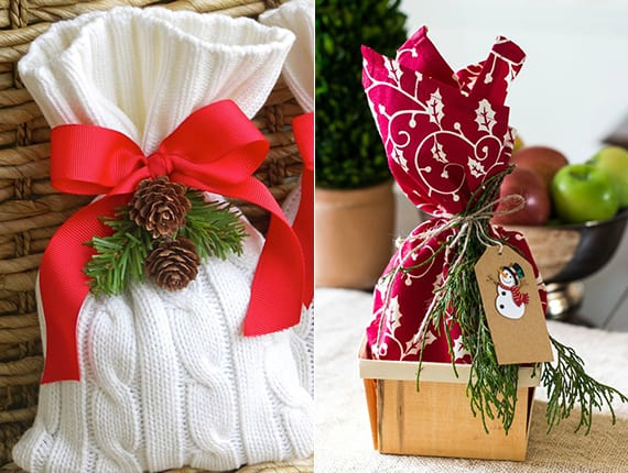 weihnachtsgeschenke verpacken in Tischdecke und diy Geschenktüte aus pulover und