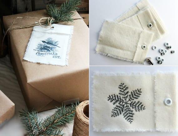 originelle geschenkverpackungsideen für weihnachtsgeschenke mit selbstgemachten Geschenkanhänger