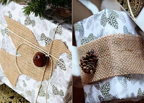 coole Geschenkverpackungsideen mit rupfen, zapgen und glocke