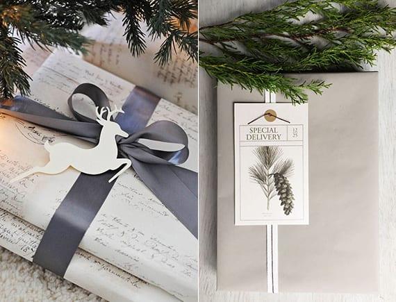 geschenke verpacken weihnachten mit selbstgemachtem geschenkanhaenger